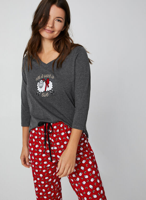 Pillow Talk - Pyjama deux pièces motif moutons, Gris