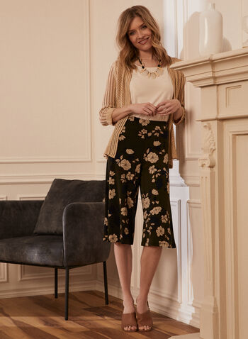 Floral Print Pull-On Gauchos, Green,  pull-on, pants, gauchos, culottes, floral print, wide leg, spring summer 2021
