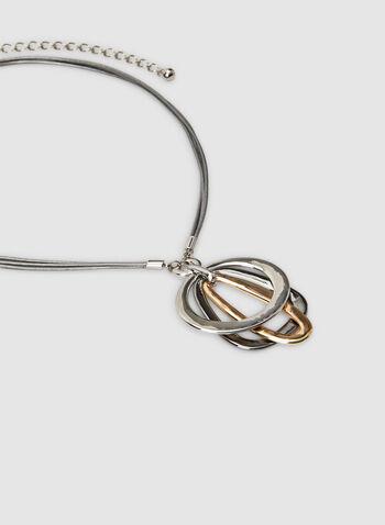 Collier court à pendants géométriques, Jaune, hi-res,  collier, court, pendants géométriques, tricolores, cordon, automne hiver 2019
