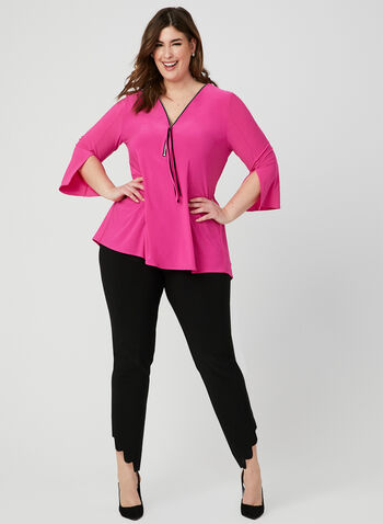 Joseph Ribkoff - Zipper Collar Top, Pink, hi-res