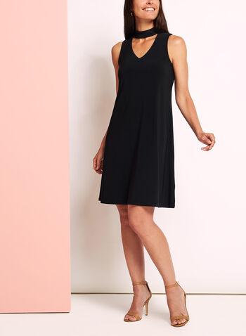 Choker Neck Trapeze Dress, Black, hi-res