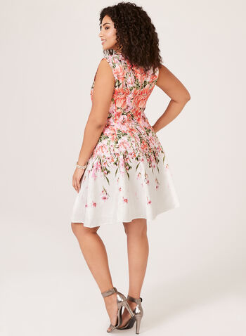 Floral Print Shantung Dress, Orange, hi-res