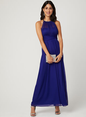 Crystal Embellished Halter Neck Dress, Blue, hi-res