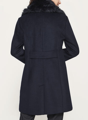 Marcona - Faux Fur Trim Wool Coat, Blue, hi-res