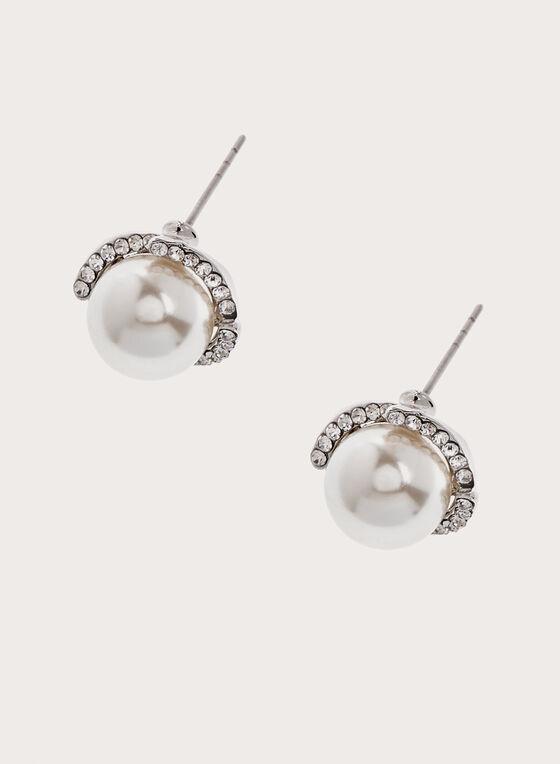 Boucles d'oreilles perles et cristaux, Blanc cassé, hi-res