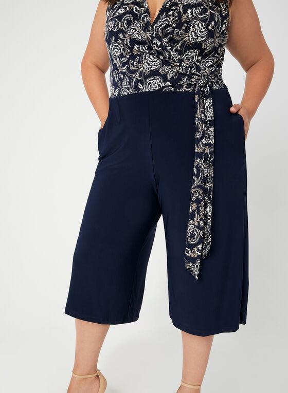 Combinaison à corsage fleuri et jambe large, Bleu
