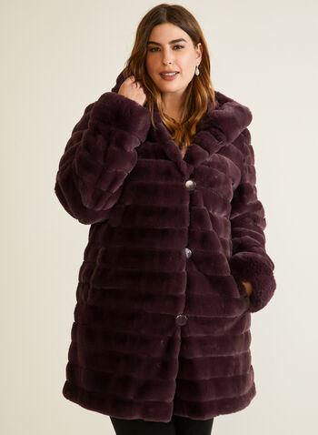 Manteau en fausse fourrure réversible, Rouge,  automne hiver 2020, manteau, réversible, fausse fourrure, poches