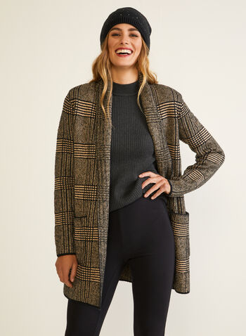Tartan Print Open Front Cardigan, Black,  fall winter 2020, cardigan, knit, open front, tartan print, long sleeves, pockets