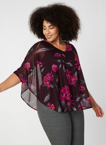Blouse poncho en maille filet fleurie, Rouge, hi-res,  blouse, poncho, fleurs, maille filet, jersey, automne hiver 2019