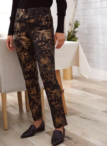 Pantalon motif métallique à enfiler, Noir,  automne hiver 2020, pantalon, jambe étroite, à enfiler, taille élastique, pull-on, motif, métallique, métallisé