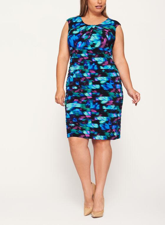 Robe motif bigarré à plis étagés et corsage plissé, Bleu, hi-res