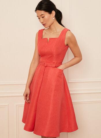 Sleeveless Jacquard Dress, Orange,  spring summer 2021, dresses, jacquard, square neck, no sleeves, big straps, belted, pocketed