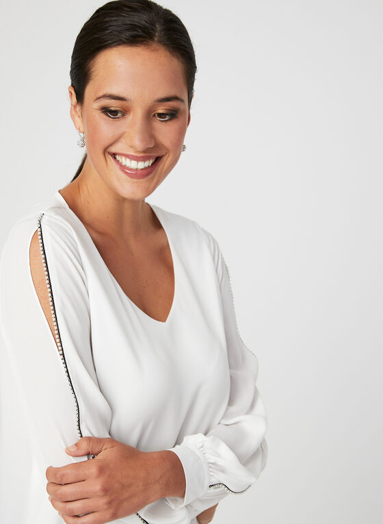 Pearl Detail V-Neck Blouse, Off White, hi-res