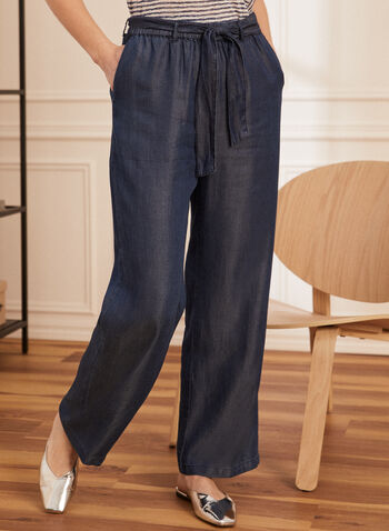 Tencel Wide Leg Pants, Blue,  pants, pull-on, modern fit, wide leg, pockets, tencel, spring summer 2020