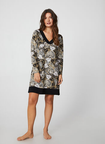Hamilton - Flower & Chain Print Nightgown, Brown,  nightgown, pyjama, flower, chain, jersey, all winter 2019