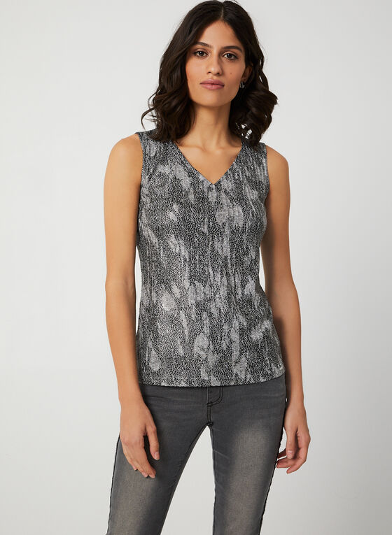 Vex - Abstract Print Sleeveless Top, Black