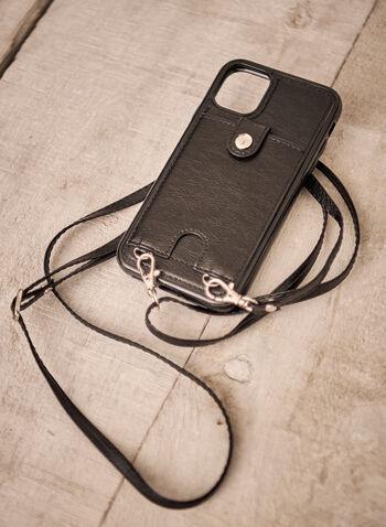 Étui pour iPhone avec sangle bandoulière, Noir,  accessoires, sac à main, pochette, sac, iphone, sangle bandoulière, ajustable, amovible, poche pour carte, bouton pression, étui rigide, cuir végane, pratique, automne hiver 2021