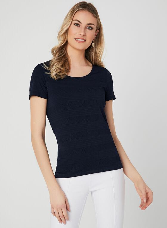 Textured Short Sleeve Top, Blue, hi-res