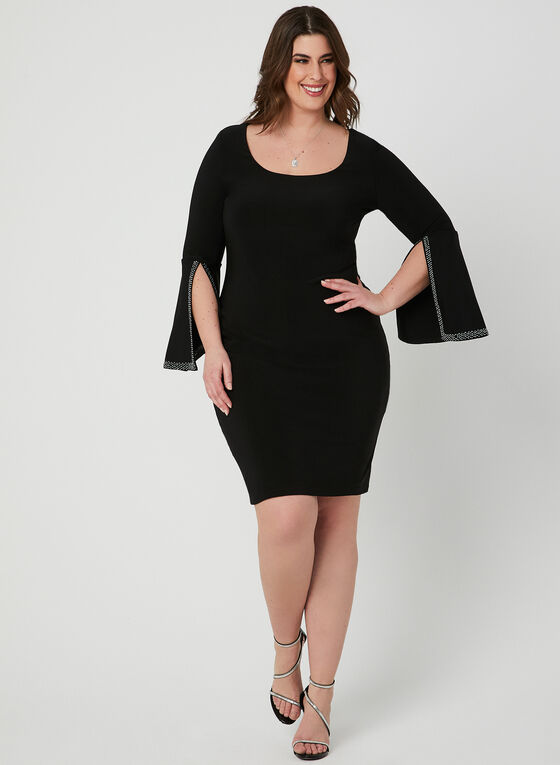 Joseph Ribkoff - Embellished Bell Sleeve Dress, Black, hi-res