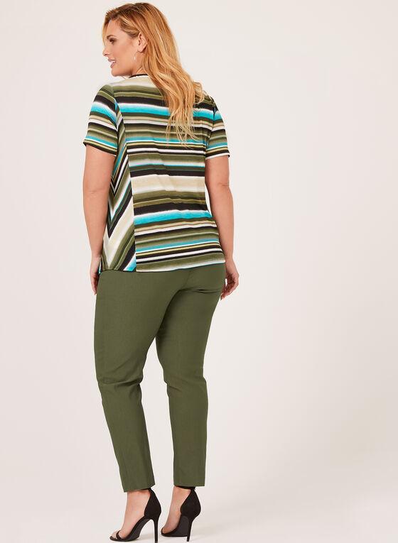 Haut en jersey à rayures et détail lacet, Vert, hi-res