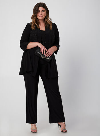 Glitter Pantsuit, Black, hi-res,  Fall winter 2019, jersey fabric, glitter, pantsuit