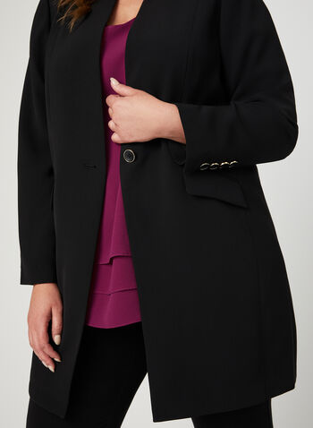 Single Breasted Duster Jacket, Black, hi-res
