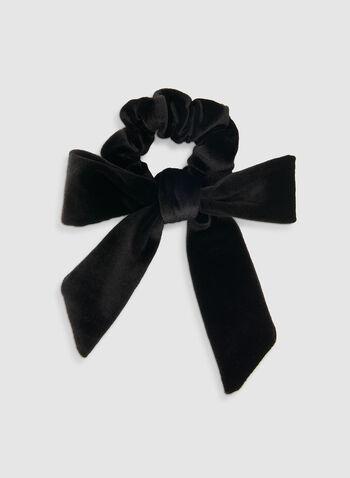Velvet Bow Scrunchie, Black,  velvet scrunchie, velvet, hair elastic, holiday, fall 2019, winter 2019