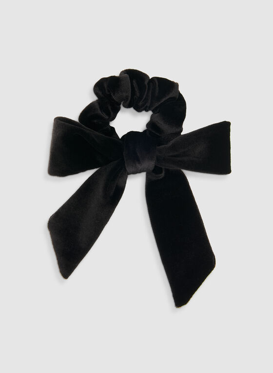 Velvet Bow Scrunchie, Black, hi-res