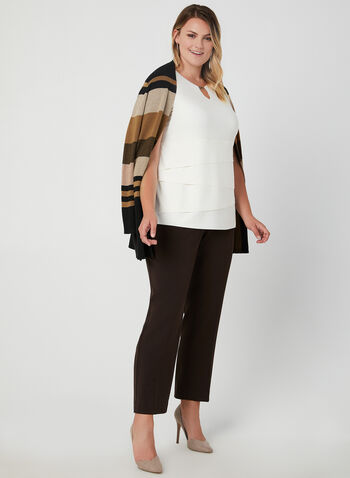 Sleeveless Layered Top, Off White, hi-res,  sleeveless, metallic detail, cutout, jersey, layered, fall 2019, winter 2019