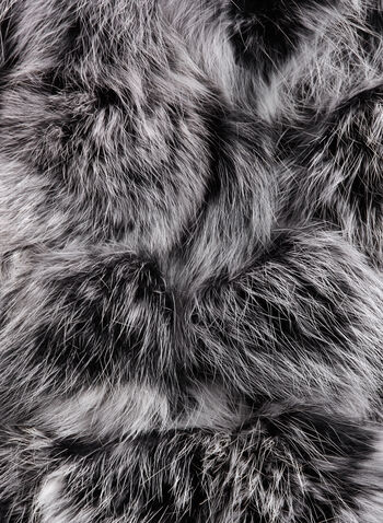 Rabbit Fur PomPom Scar, Black, hi-res