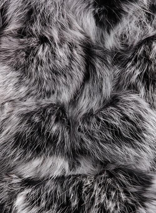 Foulard à pompons en fourrure de lapin, Noir, hi-res