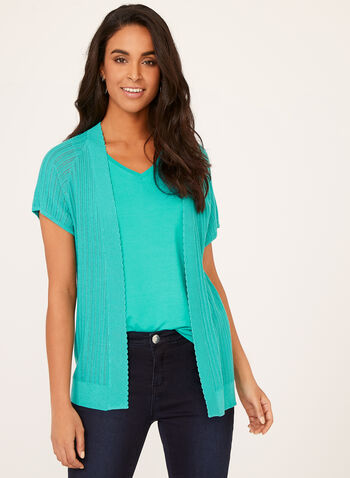 Short Sleeve Pointelle Knit Cardigan, Blue, hi-res
