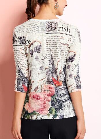 3/4 Sleeve Floral Print Top, , hi-res