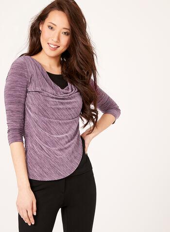 Drape Effect Layered Top , Purple, hi-res