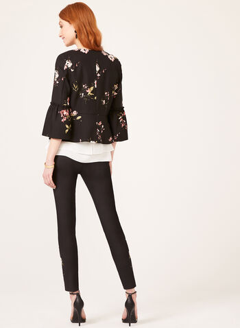 Bell Sleeve Floral Print Jacket, Black, hi-res