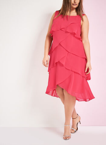 Sleeveless Tiered Chiffon Dress, , hi-res