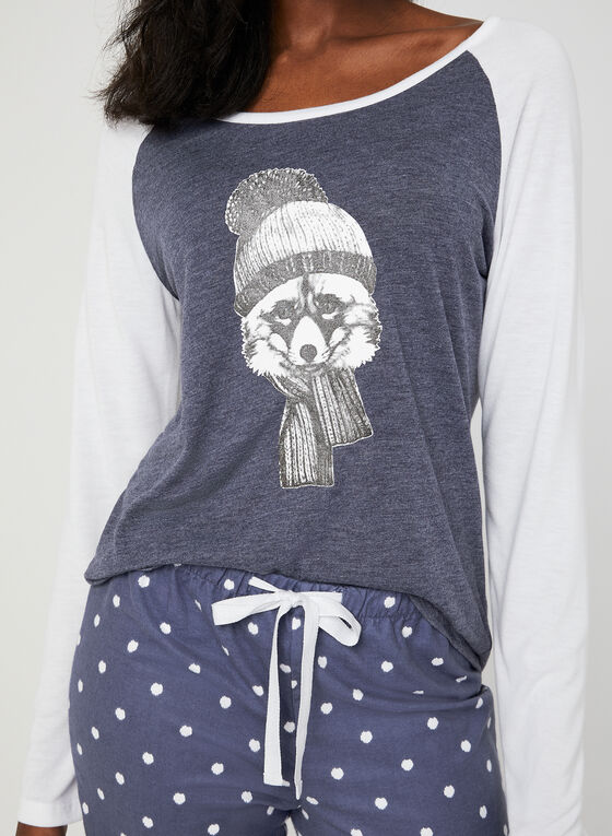 Midnight Maddie - Graphic Print Pyjamas, Grey, hi-res