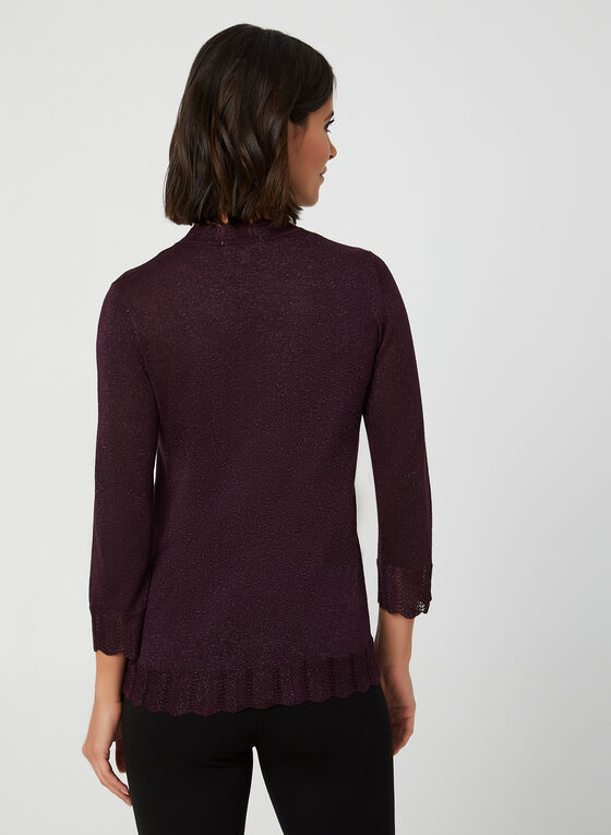 Mock Neck Knit Top, Purple