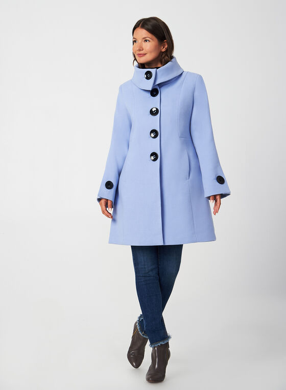 A-Line Wool-Like Coat, Blue