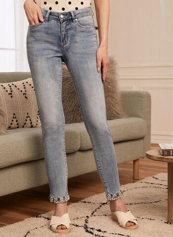 Jeans à jambe étroite et ourlet perlé, Bleu,  jeans, denim, étroit, ourlet perlé, fente, délavé, printemps été 2020