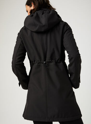 Faux Fur Lined Softshell Coat, Black, hi-res