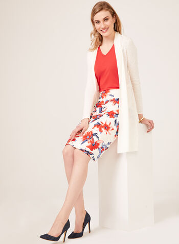 Floral Print Scuba Pencil Skirt, White, hi-res