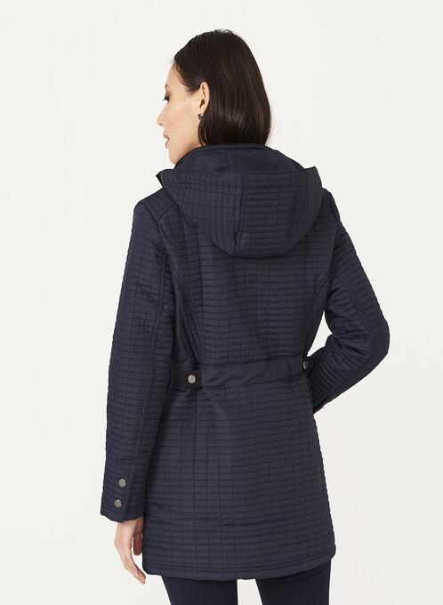 Weatherproof - Hooded Quilted Coat, Blue, hi-res