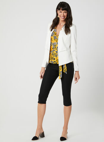 Floral Print Faux Wrap Top, Yellow, hi-res