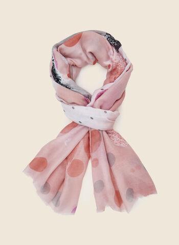 Foulard long à motifs variés , Orange,  foulard, long, motifs, pois, rayures, fleurs, gouttes d'eau, printemps été 2021