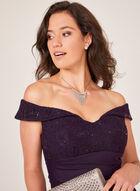 Side Drape Off The Shoulder Dress, Purple, hi-res