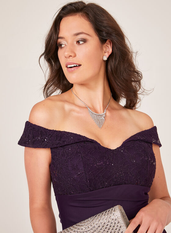 Side Drape Off The Shoulder Dress, Purple, hi-res