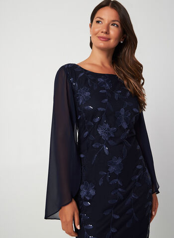 Robe en maille filet et broderies, Bleu, hi-res,  robe cocktail, manches tulipe, maille filet, mousseline, broderies, sequins, automne hiver 2019
