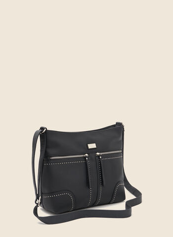 Stud Detail Crossbody Bag, Grey,  handbag, strap, crossbody, studs, faux leather, fall winter 2020