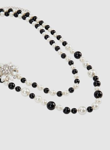 Two Tone Pearl Necklace, Black, hi-res